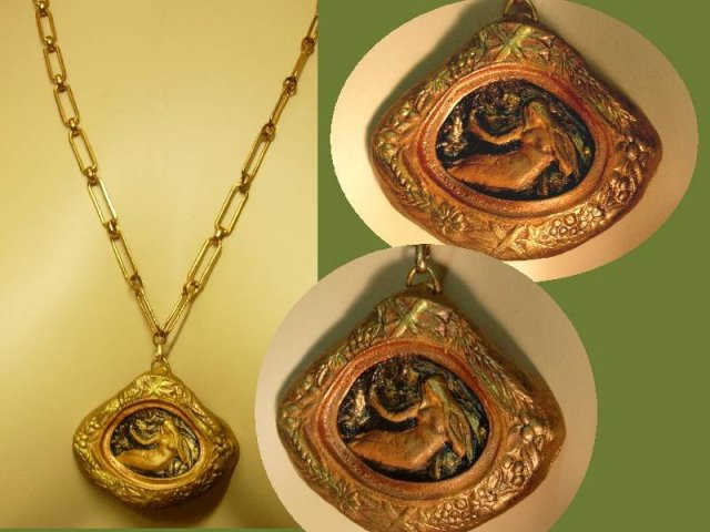 Nouveau style Miniature nude painting framed goddess necklace OOAK