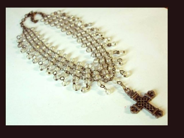 Gothic Edwardian style 130 glass bead Wide Cross Drop NEcklace