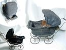 Antique Victorian Black Wicker Child's Baby Doll stroller buggy carriage pram  fully functional