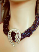 EXOTIC RAVEN GLASS multi strand Chunky RHINESTONE necklace