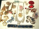 Vintage 20 pc LOT Costume jewerly SIgned HUGe rhinestones camphor glass enamel deco and MORE