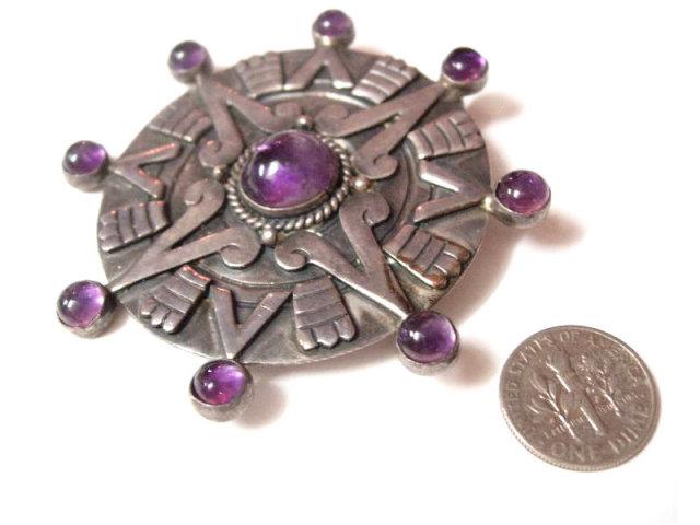 WIcca Gothic Spiritual amethyst sterling signed HUGE star sundial 1940's Vintage BRooch pendant