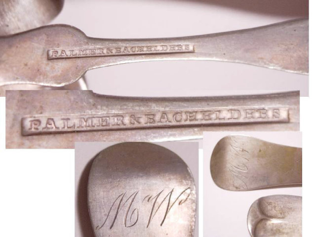 ANtique Coin silver Civil War 6 piece Spoon set from original family