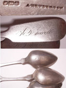 Civil War Coin Silver hand forged Spoon set from original family JEWelL hallmarked