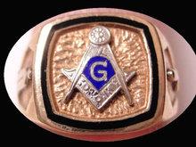 Vintage GOLD Enamel Masonic Ring Blue LOdge Applied Tools