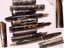 5 Vintage fountain pens sterling chatelaine bakelite inlay mother of pearl LOT