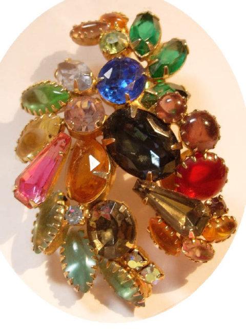 Vintage Huge Schreiner CLuster Rhinestone multi color claw set brooch