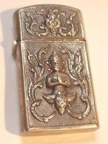 Sterling Goddess Oriental hinged case elephant zippo lighter
