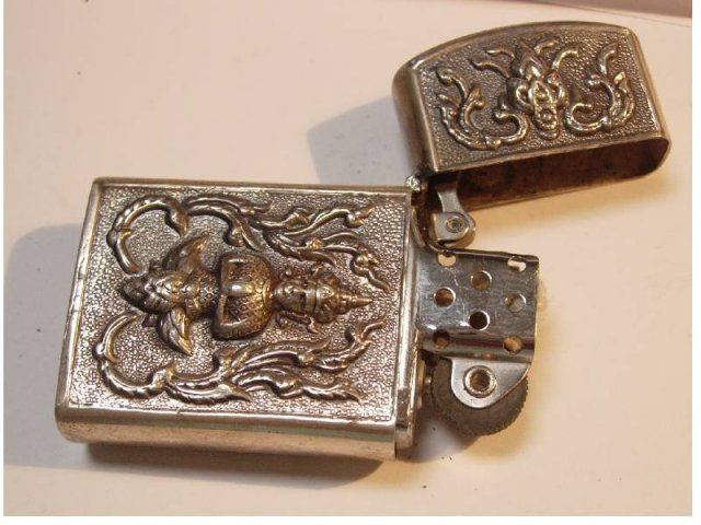 Sterling Goddess Oriental hinged case elephant zippo lighter