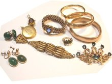 Victorian BRacelet lot fobs locket brooches lavalier rings and earrings scarabs HUGE lot