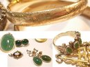 Victorian BRacelet lot fobs locket brooches lavalier rings and earrings scarabs HUGE lot