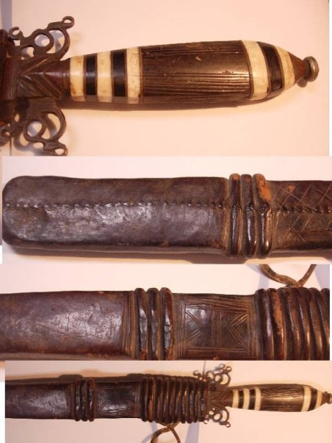 Vintage  carved African Arm Knife with original sheath