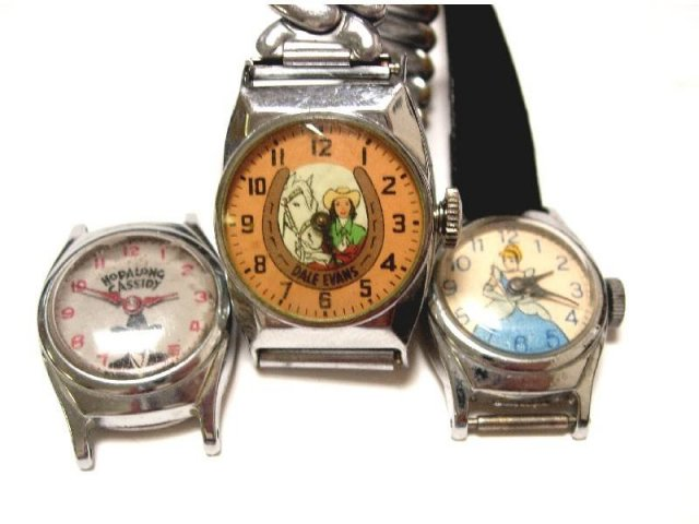 3 vintage childs novelty watches Cinderella Hopalong Cassidy Dale Evans signed