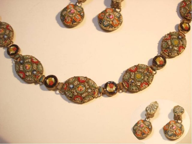Vintage 30s deco Micromosaic Bracelet and spider web  drop earrings demi parure ITaLY