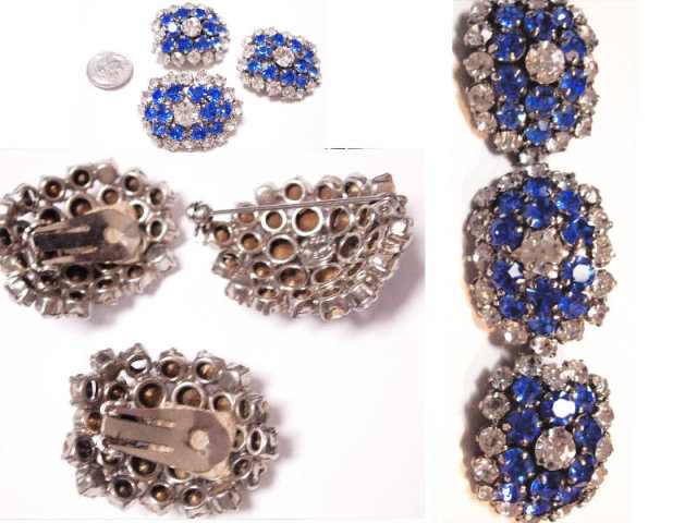 VIntage Glass rhinestone signed Austrian DEmi Parure BRILLIANT BLUE brooch earrings