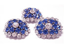 VIntage Glass rhinestone signed Austrian DEmi Parure BRILLIANT BLUE brooch earrings
