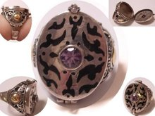 VIntage sterling amethyst POISON hidden compartment ring CLEO you have some splainin to do