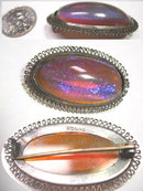 DECo vintage sterling JELLY OPAL Dragons breath HUGE mystical brooch