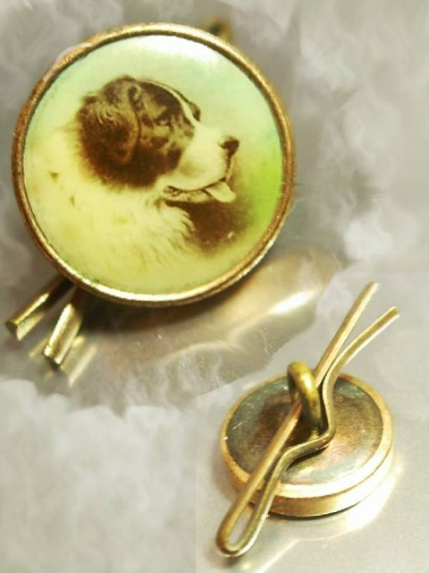 ANTIQUE HANDPAINTED RUSSIAN DOG SHEEPDOG portrait BUTTON goldfilled