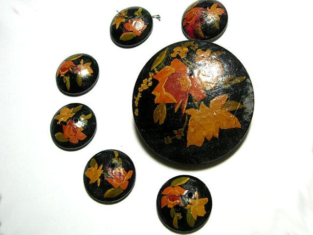 ANtique Toleware Button set one is HUGE 7pc set Destash steampunk