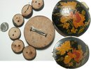 ANtique Toleware Button set one is HUGE 7pc set Destash steampunk