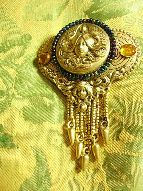 Stunning Neoclassical Jeweled Muncha French Goddess Tassel sash brooch