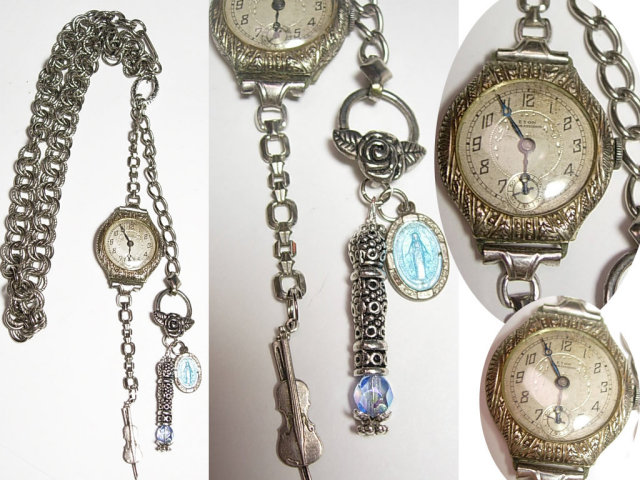 Deco Watch Chatelaine necklace ( it works) memorial sterling charms fob and violin