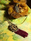 Exotic Nouveau Nude medieval portrait jeweled GORGEOUS necklace