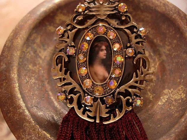 Exotic Nouveau Nude medieval portrait jeweled GORGEOUS necklace