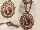 Vintage Jeweled HUGE Renaissance Icon Painted portrait Religious Necklace