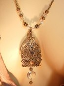 GOthic Medieval revival HUGE glass extravagant reversible filigree rhinestone necklace