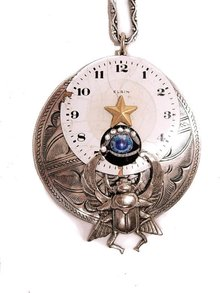 Nouveau Flair Steampunk vintage Airplane flying through time Eye Scarab Clock brooch