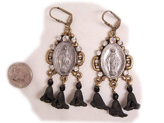1890 Miraculous Medal jeweled rhinestone earrings with black memento flower drops