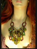 Gypsy Evil Eye chandelier HUGE BIB NEcklace with medieval gothic cross