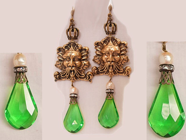 Chandelier earrings Bacchus gothic Mystical prism drop shoulder duster