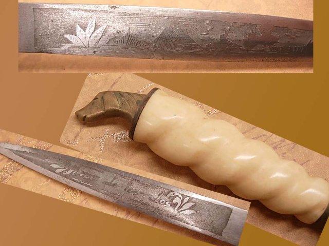 Vintage bone Figural dog head knife letter opener carved bone amor de los dos