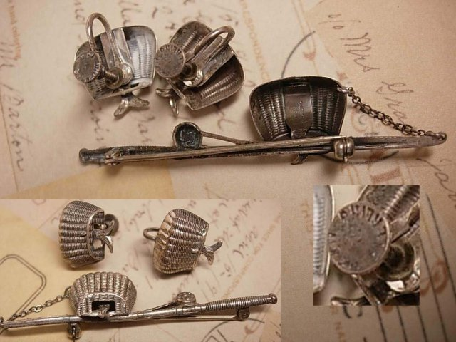 1940's sterling Arts and crafts Whimsey Fishing creel basket with FISH brooch and screw on earrings