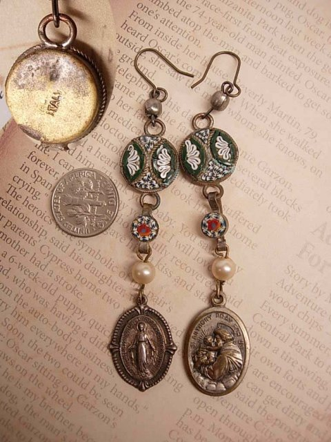Micromosaic earrings St Anthony Miraculous Mary Religious drop Italy