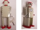 VIntage   wind up Robot with key Japanese tin litho and he works great