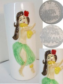 HULA girl Orchids of Hawaii 40's vase Retro pre-statehood souvenir