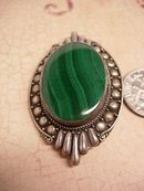 VIntage art Deco sterling Malachite Talisman relief work brooch