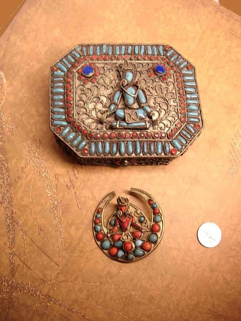 aNtique GOddess Primitive etruscan Prayer box Turquoise coral Box