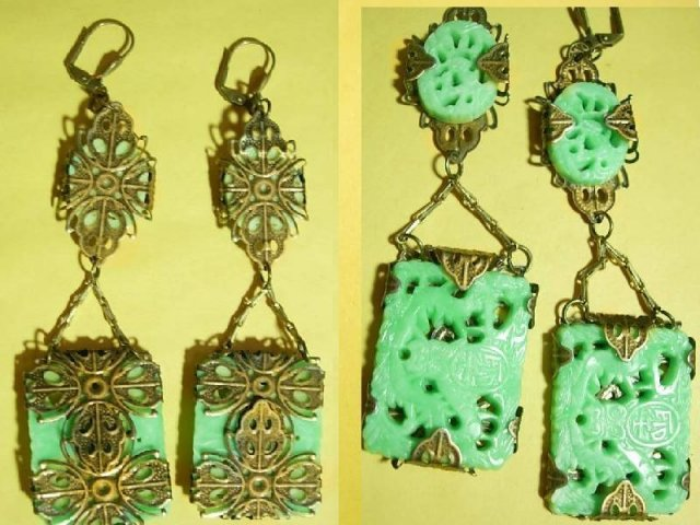 Geisha girl's Dream filigree carved Chinese drop Exotic earrings