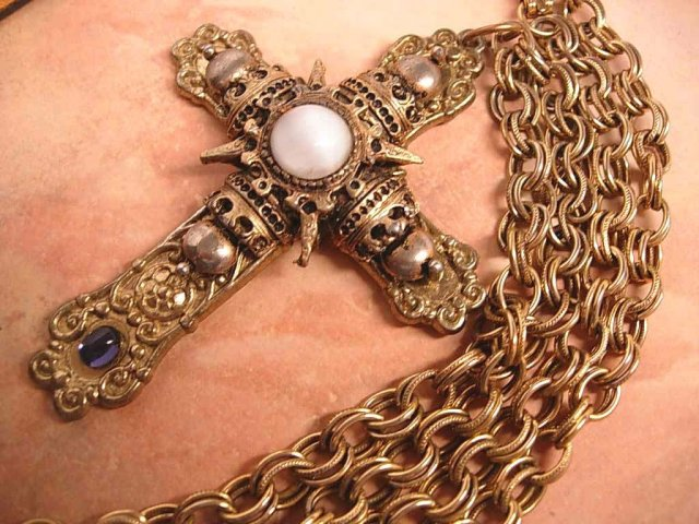 Huge gothic medieval moonstone cross necklace