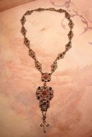 Signed ANtique Austro Hungarian necklace genuine jewels with rose gold Renaissance Revival Cross