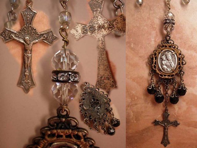 Gothic Antique St Anne with antique crucifix festoon glass necklace