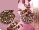 Vintage German Lava GLass Filigree Necklace Fire like colors