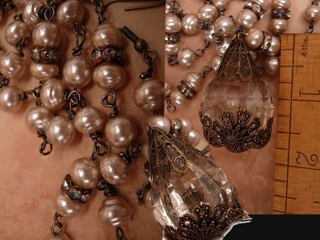 Vintage Genuine Baroque pearl chandelier necklace and earrings with rhinestone roundels