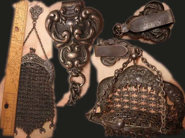 Antique Halloween witch Chainmail chatelaine and Purse handbag RARE 1800's