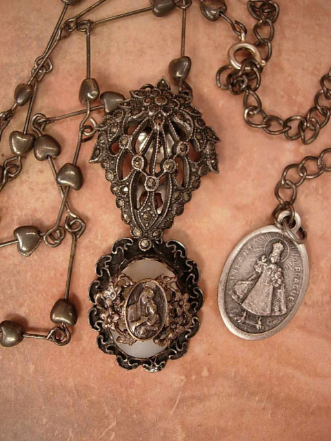Vintage Sterling sacred Heart Necklace with marcasite deco clips